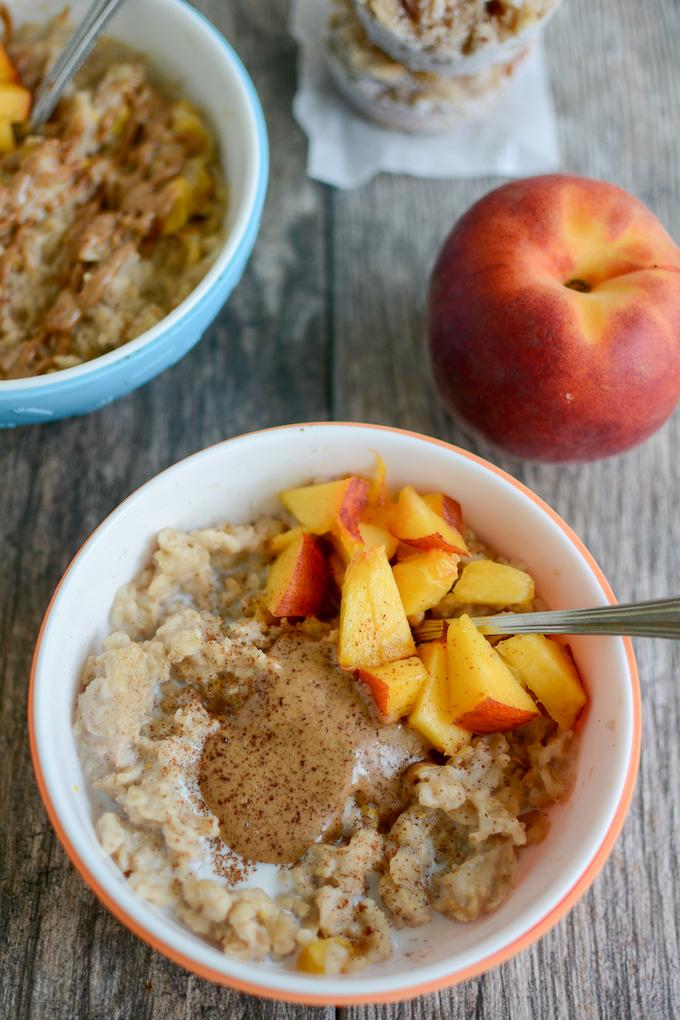 Easy Freezer Prep Oatmeal Cups with peaches and almond butter