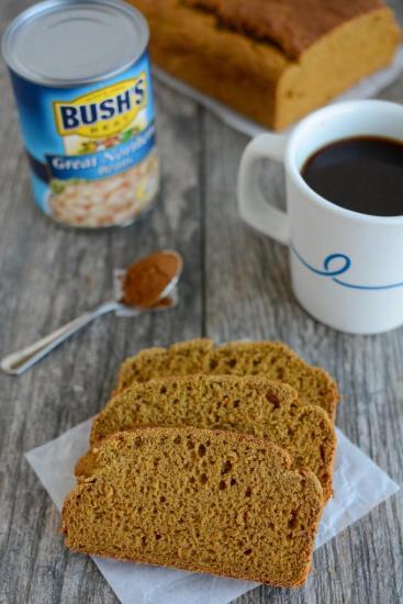 Gluten-free pumpkin white bean bread with coffee