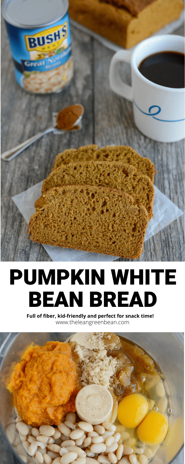 This Pumpkin White Bean Bread is sure to become your snack of choice.  It is packed with fiber and protein and can easily be made gluten free.  In addition, it is suitable for children.  The whole family will love it!