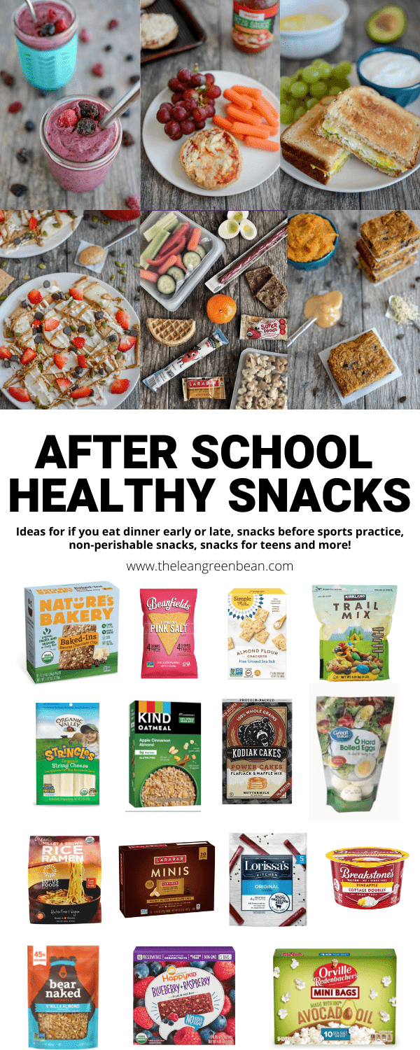Looking for After School Healthy Snacks? Here are ideas for if you eat dinner early or late, before practice snacks, car snacks, non-perishable snacks and more.