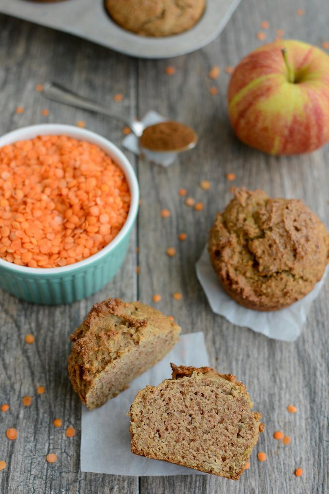 apple cinnamon red lentil muffin cut in half