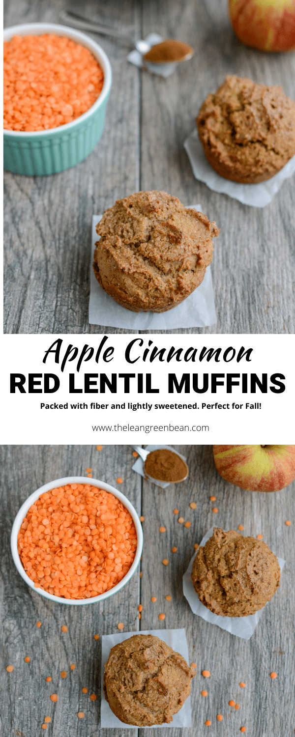 These Apple Cinnamon Red Lentil Muffins are kid-friendly, lightly sweetened and full of fiber! They're perfect for breakfast, snack time or a nut-free school lunch!
