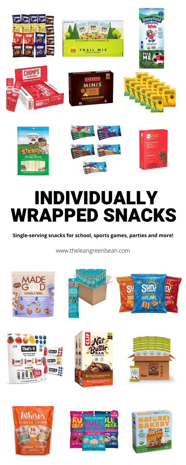 Looking for individually wrapped snacks for school, parties, sports games and more? Here are some healthy options from a Registered Dietitian.