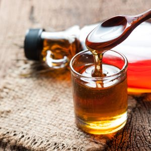 maple syrup in a tiny glass bottle
