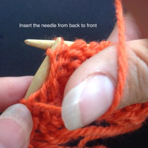 Purl stitch: insert needle from back to front