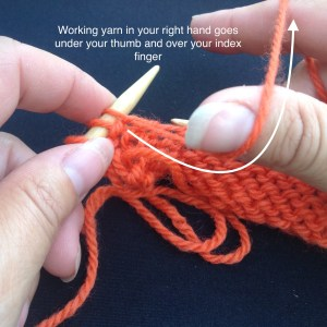How to hold the yarn in a purl stitch