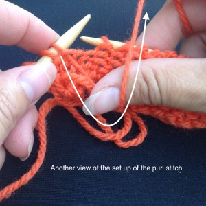 how to hold the yarn for the purl stitch