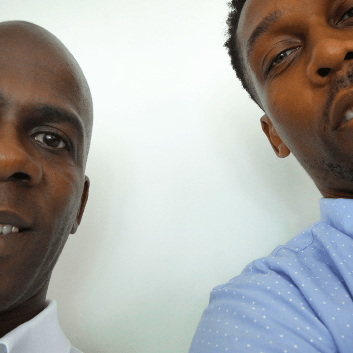 Tyrone Hinds poses for a picture with Lemar. They speak about how we went from a real life low and a stint in prison to managing one of the UK's hottest acts in Ms Dynamite.