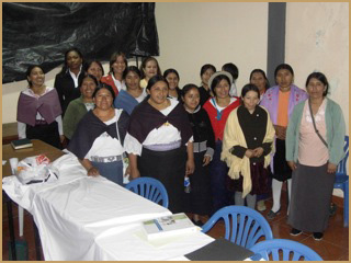 Helen (at the back of the room) makes her first visit to Quito, Ecuador, 2009.