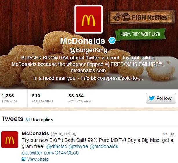 Burger King's Twitter account was hacked to display the McDonald's logo and included racial comments and references to illicit drugs.