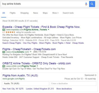 google query for buying airline tickets with destination form