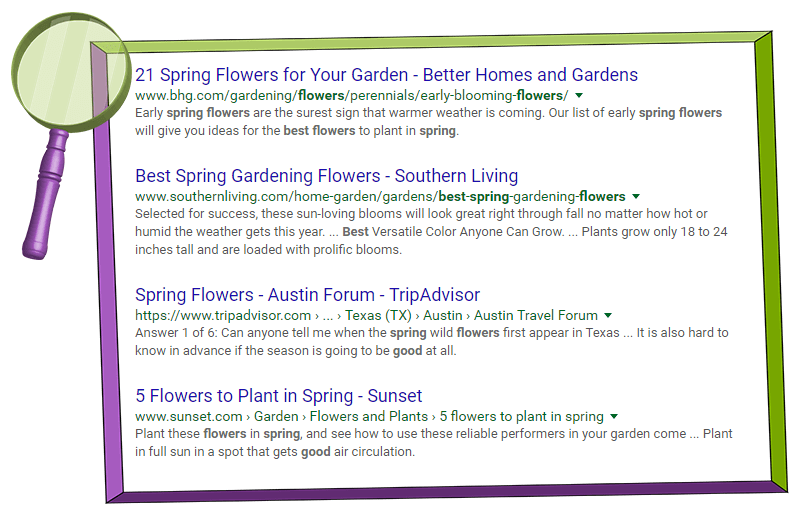 Google search engine results page for best spring flowers