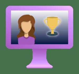 leverage purple computer showing video testimonial