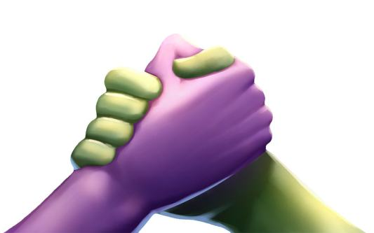 purple and green hands representing seo and ppc