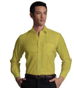 Cadini by Siyaram's Canary Yellow 60 LEA 100% Pure Linen Shirt Fabric