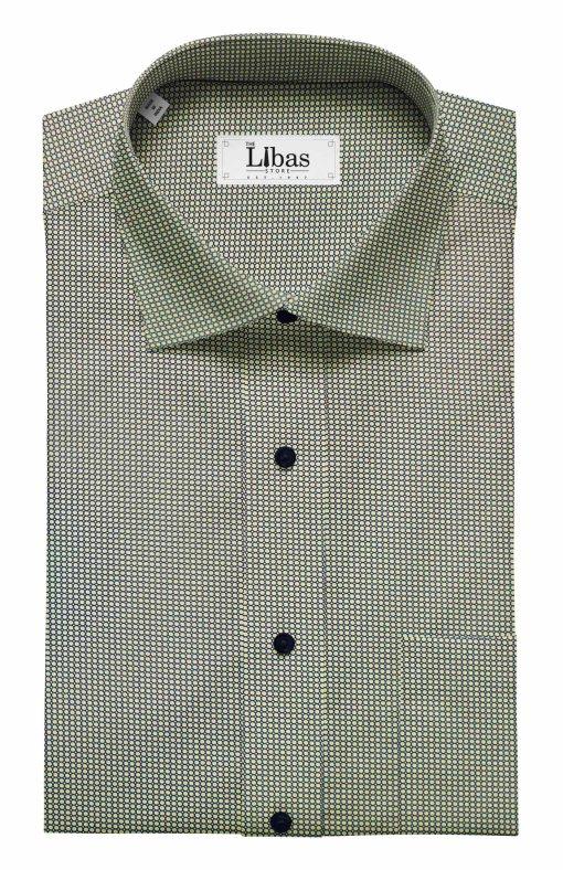 Nemesis Men's Light Brown 100% Egyptian Giza Cotton Blue Circle Print Shirt Fabric (1.60 M)