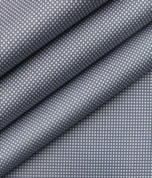 Nemesis Men's White 100% Egyptian Giza Cotton Blue Circle Print Shirt Fabric (1.60 M)
