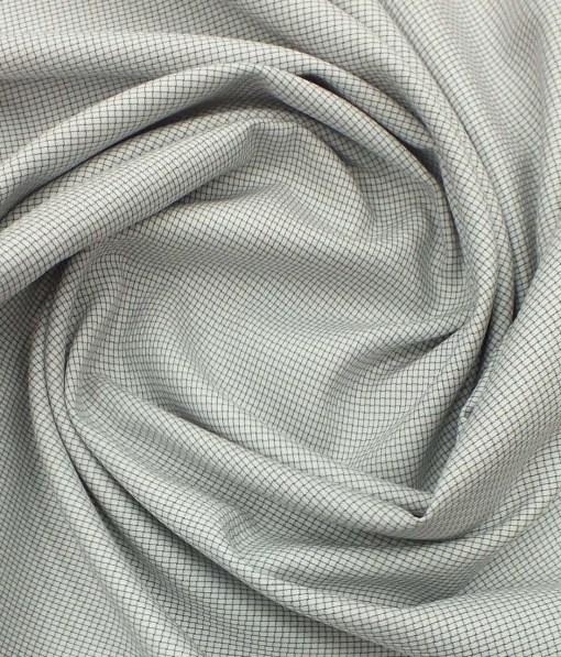 Nemesis Men's White 100% Egyptian Giza Cotton Grey Thread Weave Design Shirt Fabric (1.60 M)