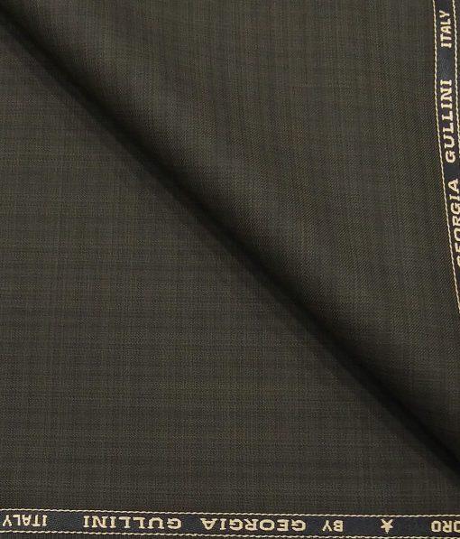 Georgia Gulini Greenish Brown Self Design Poly Viscose Unstitched Fabric (1.25 Mtr) For Trouser