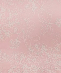 Nemesis Light Baby Pink 100% Egyptian Cotton White Floral Print Shirt Fabric (1.60 M)