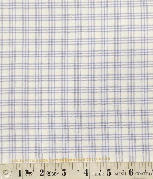Nemesis White Oxford Weave 100% Egyptian Cotton Blue Checks Shirt Fabric (1.60 M)