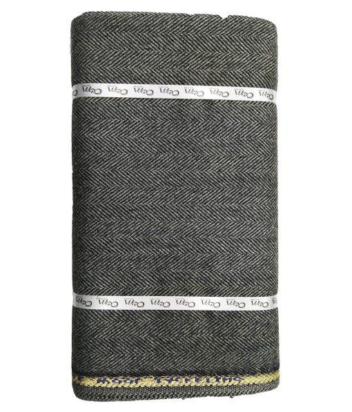 OCM Dark Grey Herringbone 100% Pure Merino Wool Very Thick Tweed Jacketing & Blazer Fabric (Unstitched - 2 Mtr)