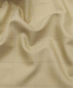 Roberto Ferrari Egg Nog Beige & Green Checks Unstitched Terry Rayon Suiting Fabric