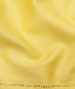 Nemesis Men's 100% Giza Cotton Solid Satin Unstitched Shirt Fabric (Blonde Yellow