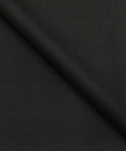 Marcellino Men's Terry Rayon Self Checks Unstitched Suiting Fabric (Black)