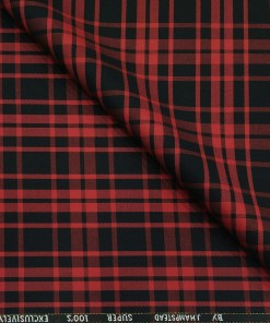 J.Hampstead Men's Poly Wool Unstitched Red Checks Suiting Fabric (Black)
