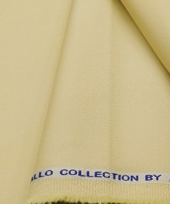 Arvind Men's Cotton Stretchable Unstitched 1.35 Meter Solid Satin Weave Trouser Fabric (Parmesean Beige)