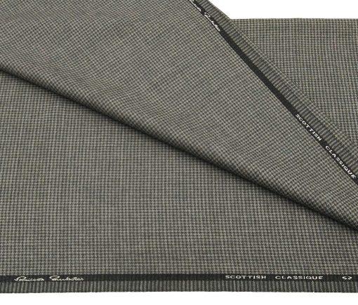 OCM Men's Wool Black Houndstooth Weave 2 Meter Unstitched Tweed Jacketing & Blazer Fabric (Grey)