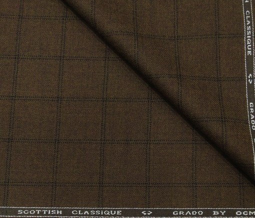 OCM Men's Wool Black Checks 2 Meter Unstitched Tweed  Jacketing & Blazer Fabric (Dark Brown)