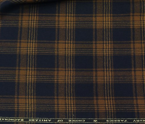 OCM Men's Wool Light Brown Checks 2 Meter Unstitched Tweed Jacketing & Blazer Fabric (Dark Blue)