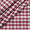Cadini Italy Men's Cotton Red Checks 1.60 Meter Unstitched Shirt Fabric (White)
