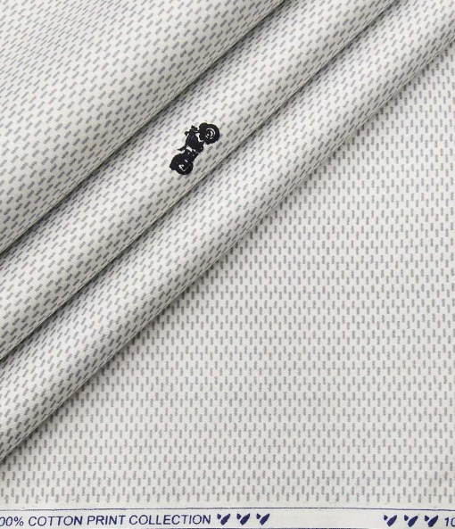 Monza Men's Cotton Printed 1.60 Meter Unstitched Shirt Fabric (White)