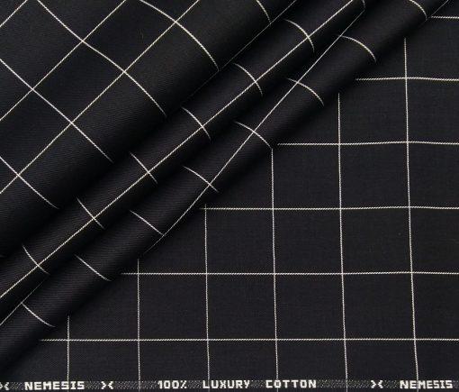 Nemesis Men's Cotton Checks Unstitched Shirt Fabric (Black)