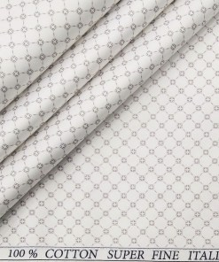 Pee Gee Men's Cotton Maroon Printed 1.60 Meter Unstitched Shirt Fabric (White)