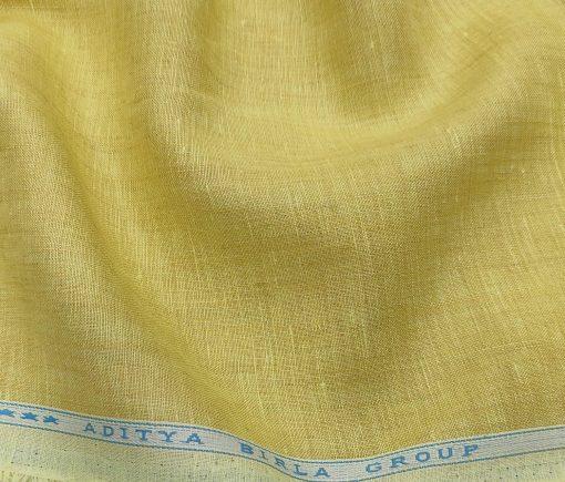 Linen Club Men's Linen 60 LEA Self Design Unstitched Shirting Fabric (Blonde Yellow)