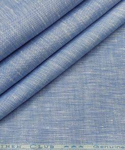 Linen Club Men's Linen 60 LEA Self Design Unstitched Shirting Fabric (Light Blue)