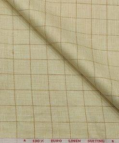 Solino Men's Linen Brown Checks 3 Meter Unstitched Suiting Fabric (Beige)