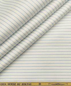 Soktas Men's Cotton Striped Unstitched Shirt Fabric (White)