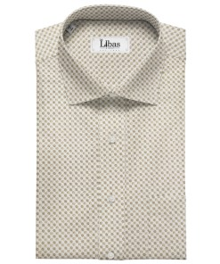 Pee Gee Men's Cotton Printed  Unstitched Shirting Fabric (Milky White)