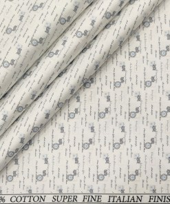 Pee Gee Men's Cotton Printed  Unstitched Shirting Fabric (White & Grey)