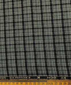 OCM Men's Wool Checks   Unstitched Shirting Fabric (Grey)