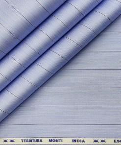 Tessitura Monti Men's Giza Cotton Striped 2 Meter Unstitched Shirting Fabric (Sky Blue)