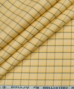 Arvind Men's Cotton Checks Unstitched Shirting Fabric (Honey Yellow)