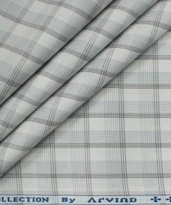 Arvind Men's Cotton Checks Unstitched Shirting Fabric (Milky White)