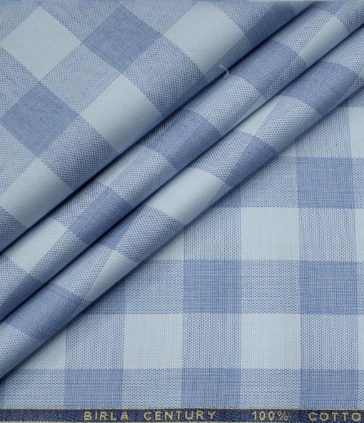 Birla Century Men's Cotton Checks Unstitched Shirting Fabric (Sky Blue )