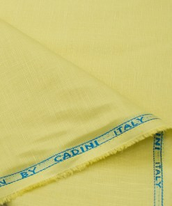 Cadini Men's Cotton Linen Solids 2.25 Meter Unstitched Shirting Fabric (Daffodil Yellow)